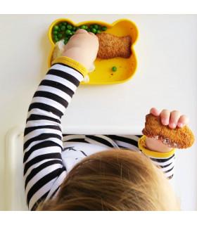 Boite à goûter en silicone jaune pour bébés et enfants, en forme d'ours, We Might Be Tiny
