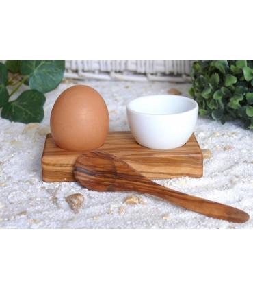 Olive Wood Egg Cup with a Porcelain Ramekin, Olivenholz-Erleben