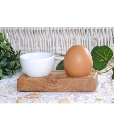 Olivenholz-Erleben, Olive Wood Egg holder with a Porcelain Ramekin