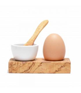 Olive wood egg holder with a porcelain ramekin