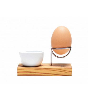 Olive wood and stainless steel egg holder, Olivenholz