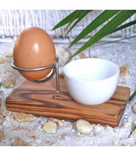 Olivenholz Erleben Olive Wood and Stainless Steel Egg Holder