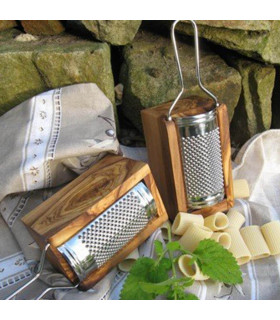 Hard cheese grater made of stainless steel and olive wood, Olivenholz Erleben