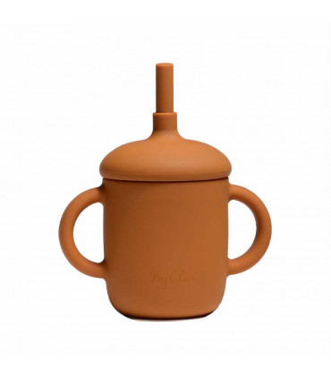 Silicone-made, Sippy cup with a straw, Rust, My Chupi