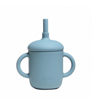 Silicone-made, Sippy cup with a straw, Spruce blue, My Chupi