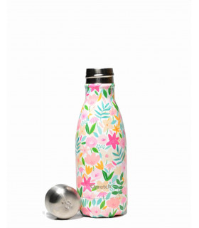Gourde isotherme Qwetch flora rose 260 ml ouverte