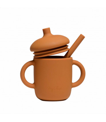 Silicone-made, Sippy cup with a straw, Rust from My Chupi