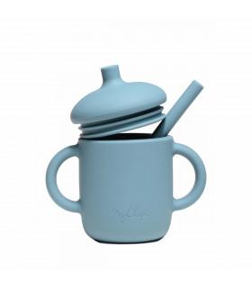 Tasse d'apprentissage bébé, conçue en silicone, Spruce Blue, My Chupi