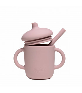 Silicone-made, Sippy cup with a straw, Flamingo from My Chupi