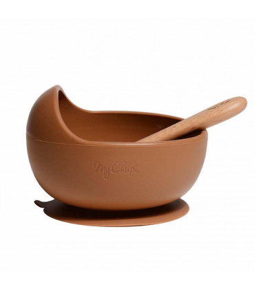 My Chupi, Caramel First Weaning Silicone Bowl and Spoon