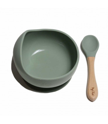My Chupi, Sage Silicone First Weaning Bowl and Spoon