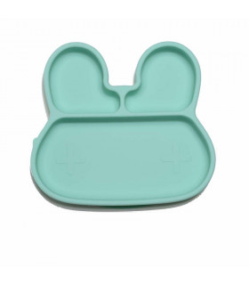 Stickie plate from We might be tiny made from silicone and minty green bunny shaped