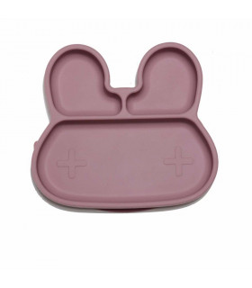 We might be tiny Silicone divided dusty rose bunny kids sticky plate front view