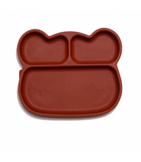We might be tiny Silicone divided red rust bear kids sticky plate front view