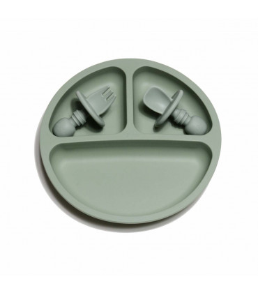 Silicone Suction Plate and Baby Cuterly - Sage
