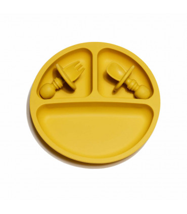 Silicone Suction Plate and Baby Cuterly - Royal Mustard