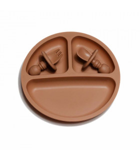 Silicone Suction Plate and Baby Cuterly - Clay