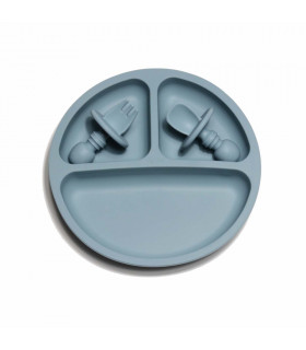 Silicone Suction Plate and Baby Cuterly - Blue