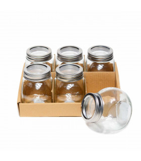Small Glass Jar with Lid - Set of 6, Mondex