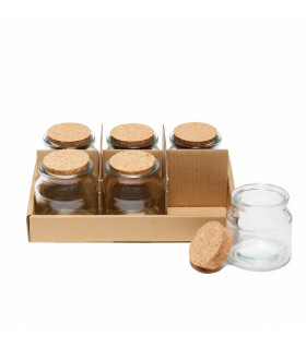 Small Glass Jar with Cork Lid - Set of 6