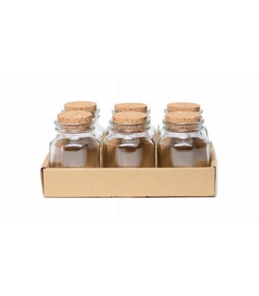 Small Hexagonal Jars with Cork Lid, set of 6