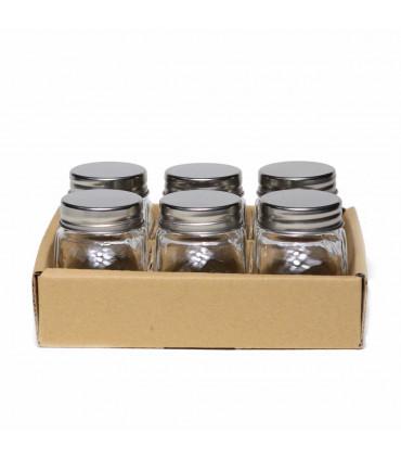 Mini Glass Jar with a Metal Lid - Set of 6