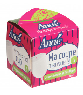 Small size Anaé silicone menstrual cup in front view cardboard packaging