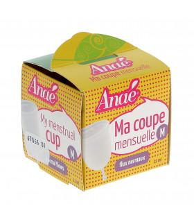 Boite d'emballage jaune de la coupe mensuelle taille M de la marque Anaé