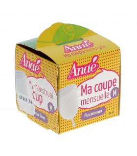 Medium size Anaé silicone menstrual cup in front view cardboard packaging
