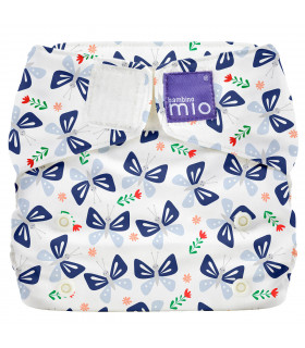 Closed up All in One reusable nappy with white and butterfly bloom pattern