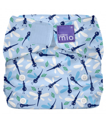 Closed up All in One reusable nappy with lightblue blue and Dragonfly daze pattern