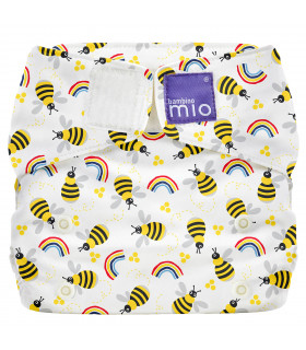 Closed up All in One reusable nappy with white and honneybee hive pattern