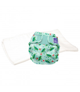 Reusable nappy with washable cloth bambino mio trial pack with happy hopper pattern