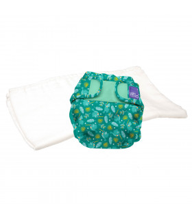 Reusable nappy with washable cloth bambino mio trial pack with hummingbird pattern