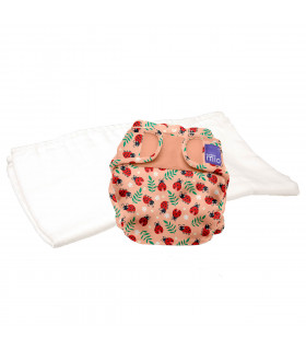 Reusable nappy with washable cloth bambino mio trial pack with loveable ladybug pattern