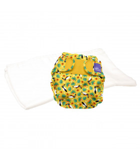 Reusable nappy with washable cloth bambino mio trial pack with tropical toucan pattern