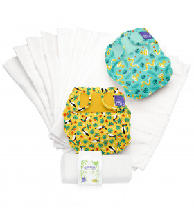 Two Reusable nappies with rainforest patters and washable diaper liners set bambino mio trial pack