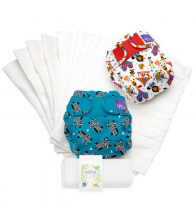 Pack Couches lavables TE2 avec inserts motif carnaval Bambino Mio