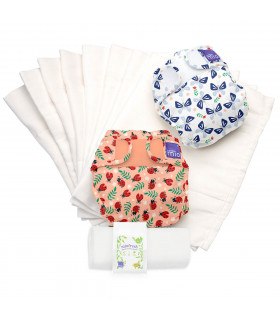 Two Reusable nappies with bugs life patters and washable diaper liners set bambino mio trial pack
