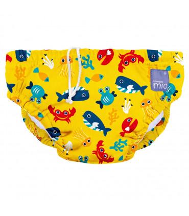 Couche piscine lavable jaune motif en eaux profondes Bambino Mio