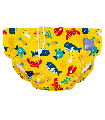 Reusable swim nappy with deap sea yellow pattern