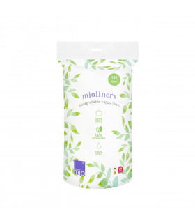 Biodegradable nappy liner in pack front view
