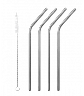 Four aligned bent grey colored stainless steel straws with straight straw brush