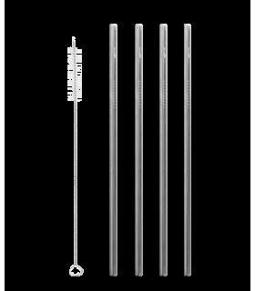 4 pailles droites en inox avec un goupillon