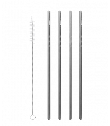 Four aligned straight grey coloredstainless steel straws with straight straw brush