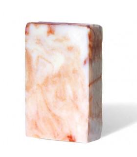 Savon solide bio PachamamaHuile démaquillante solide Pachamamaï ovale orange marbré à base de menthe et patchouli