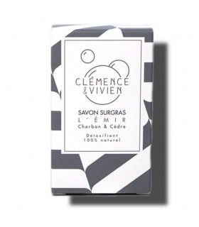 Black colored striped Emir Clemence et Vivien bar soap cardboard package