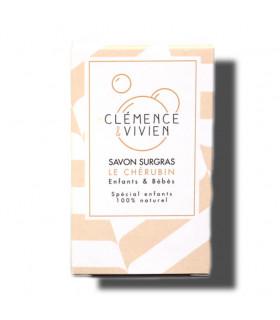 Cream colored striped Le Chérubin Clemence et Vivien bar soap cardboard package