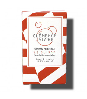 Red colored striped Le Suisse Clemence et Vivien bar soap cardboard package