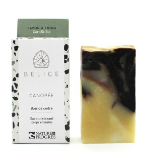 Belice canopy black and yellow bar soap with cardboard package on the side